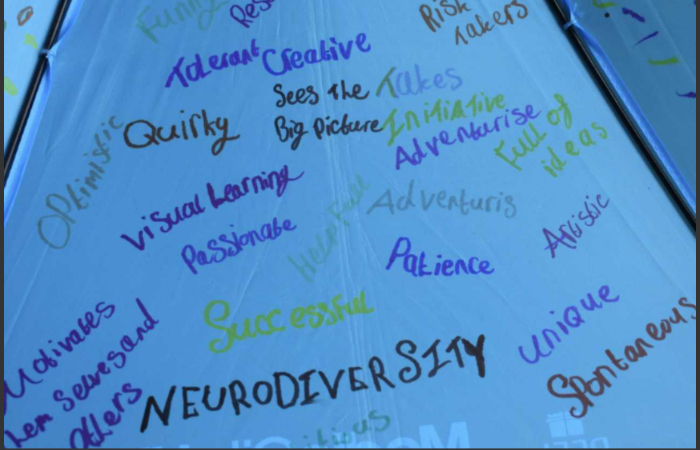 Picture showing umbrellas designed by students at West Kirby School & College to celebrate Neurodiversity Celebration Week.