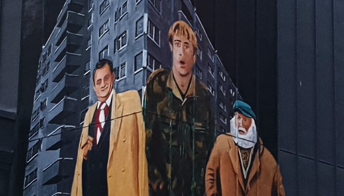 Only Fools and Horses mural by Paul Curtis. The mural is located on the corner of the Only Fools and Horses bar on Seel street.